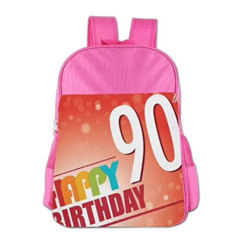 Haixia Kid BoysGirls Backpacks 90th Birthday Decorations Happy Greeting On Red Bokeh Background Retro Style
