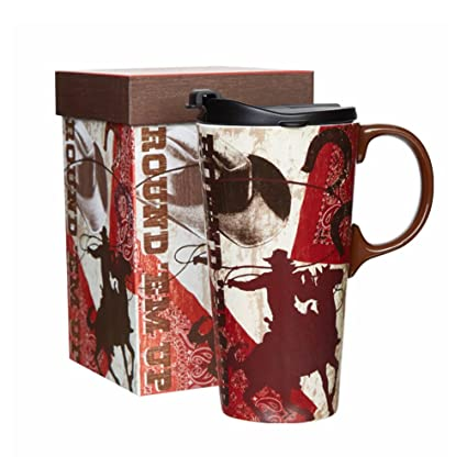 f623e8e04c6 Amazon.com: Ceramic Travel Mug Coffee Cup with Sealed Lid and Gift Box 17 oz  (Horsemen): Kitchen & Dining