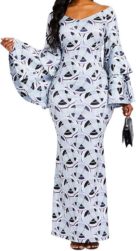 bedruckt Maxikleid Partykleid Wickelkleid R/üschen Verwin Bodycon-Kleid f/ür Damen langes Kleid lang/ärmelig