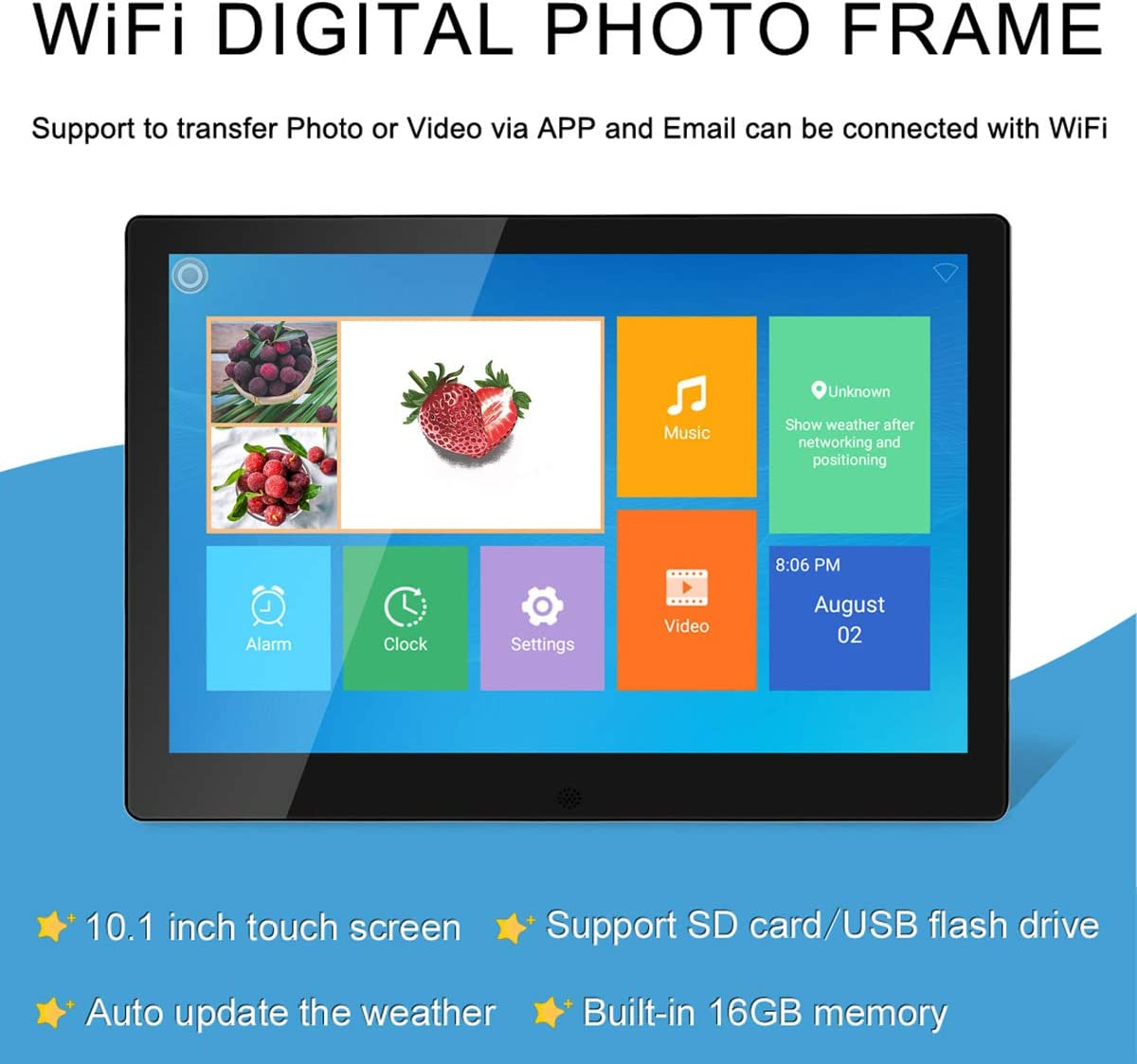 10-inch Smart Cloud Photo Frame with WiFi Connection 1280 /× 800 Resolution HD Digital Photo Frame IPS Screen