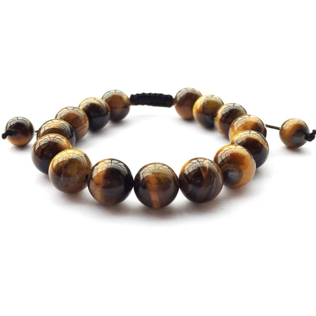 DOLON Braided Brown Yellow Tiger Eye Stone Beaded Mens Bracelet 4mm//6mm//8mm//10mm//12mm