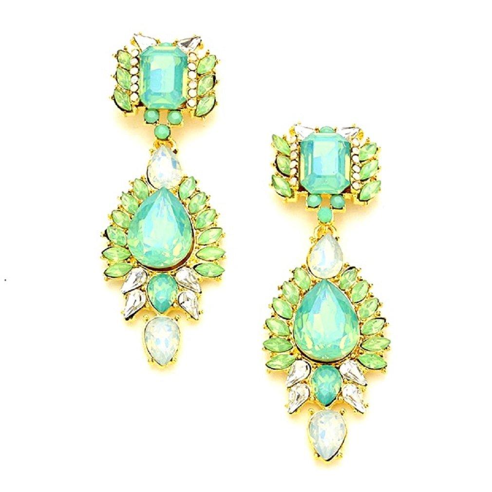 Uniklook Jewelry Pop Urban Chic Mint Green Clear Crystal Chandelier Gold Chandelier Earrings