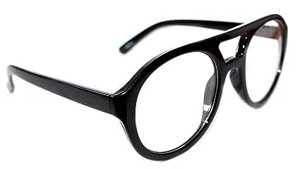 996497e21b Amazon.com  MEN S WOMEN S THICK FRAME ROUND SHAPE AVIATOR NERD EYE GLASS  CLEAR LENS EYE GLASSES  Clothing