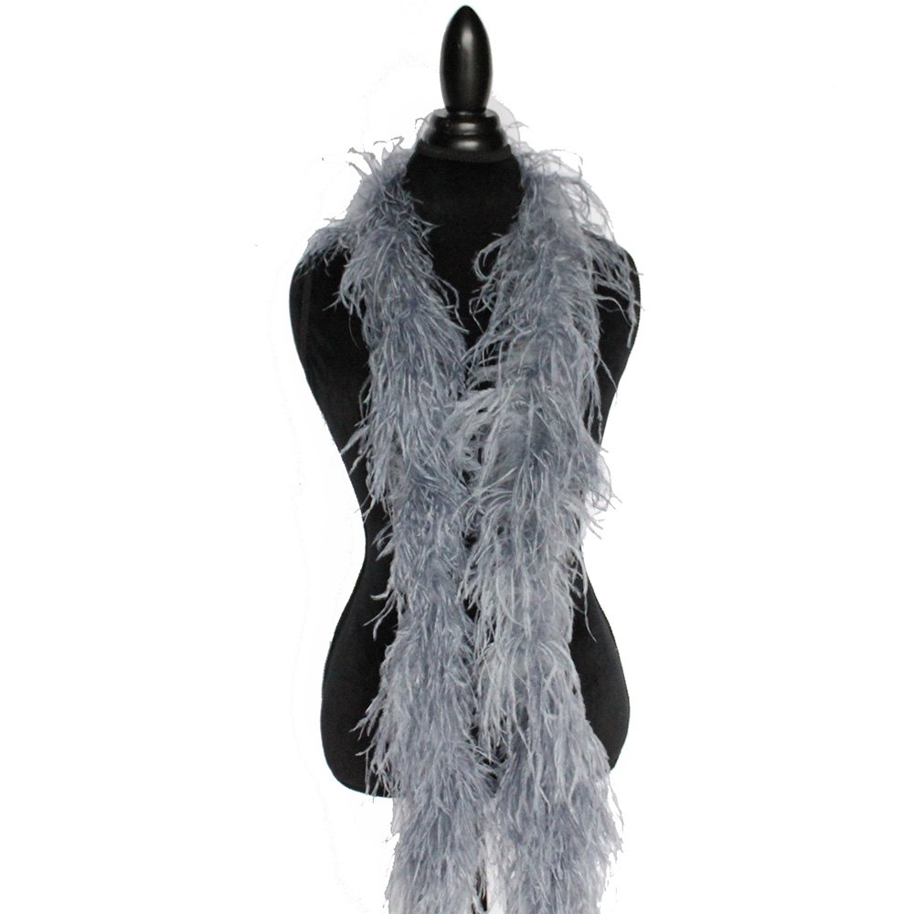 2ply Ostrich Feather Boas, Over 20 Colors to Pick Up ... (Silver Grey)