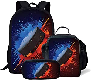3 Pcs School School Bag Set for Children Kids Cool ice hockey Painting Shoulder Bag with Food Box Pencil Case