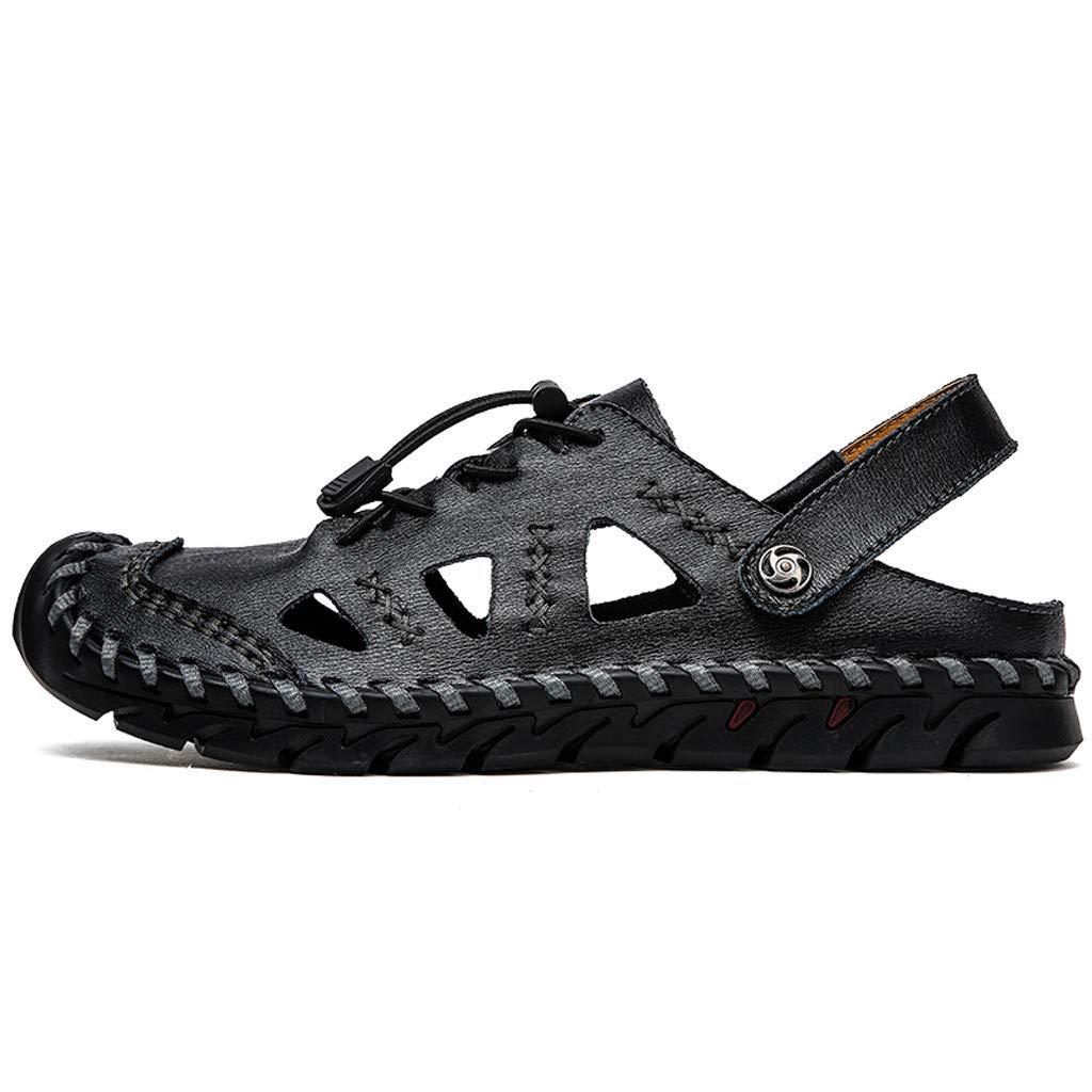 AfterSo Men's Breathable Fashion Casual Men's Shoes Large Size Trekking Sandals Black