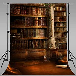 Vintage Library Background for Graduation Events EARVO 5x7ft Books Shelf Photography Backdrop Retro Party Decoration Cotton Backdrop Photo Studio Props EALS719