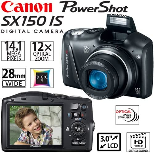 Black Canon 5664B005 PowerShot SX150 is 14.1 MP Digital Camera ...