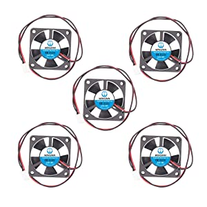 WINSINN 35mm Fan 12V Hydraulic Bearing DC Brushless Quiet Cooling 3510 35x10mm for 3D Printer Extruder Graphics Card - 2Pin 0.04A 0.48W 6500+-5% RPM (Pack of 5Pcs)
