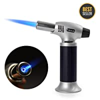Culinary Butane Torch, Refillable Kitchen Blow Torch Lighter with Safety Lock & Adjustable Flame for Creme Brulee, Meat, Seafood, Pastries, Desserts, Blazing, Soldering, Baking, Camping, BBQ, DIY - Butane not included