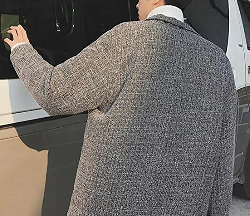 Mens Lapel Fit Jacket Wool Loose Long today Sleeve Blend Grey UK 7w15nqH