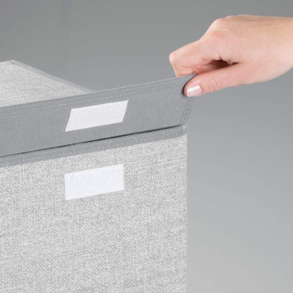 Cesto portabiancheria rettangolare in tessuto mDesign Set da 2 Organizer borsa con maniglie intrecciate grigio Box contenitore pieghevole trasportabile in due grandezze