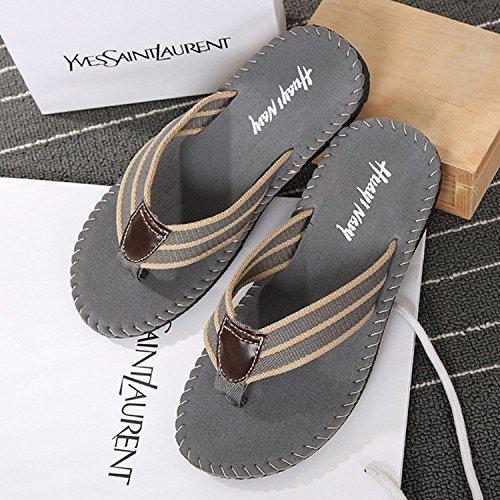Minetom Hombres Moda Zapatillas Chanclas Verano Playa Zapatos Clip Toe Sandalias Gris