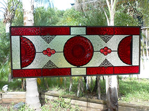 Ruby Red Bubble Depression Glass Plate, Stained Glass Panel Window Transom, Antique Valance, Unique Window Treatment, Original Design Home Decor