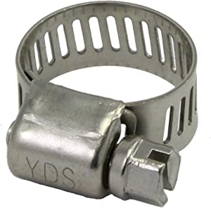 """YDS All 300 Grade Stainless Steel Mini Hose Clamp, Worm-Drive, SAE Size 4, 5/16"""" to 5/8"""" Diameter Range, 0.35 Bandwidth (Pack of 10)"""