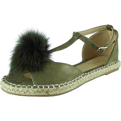 68abf1a101c New Womens Ladies T-Bar Fur Pom Pom Espadrilles Shoes Peeptoe Sandals Flats  Size 3