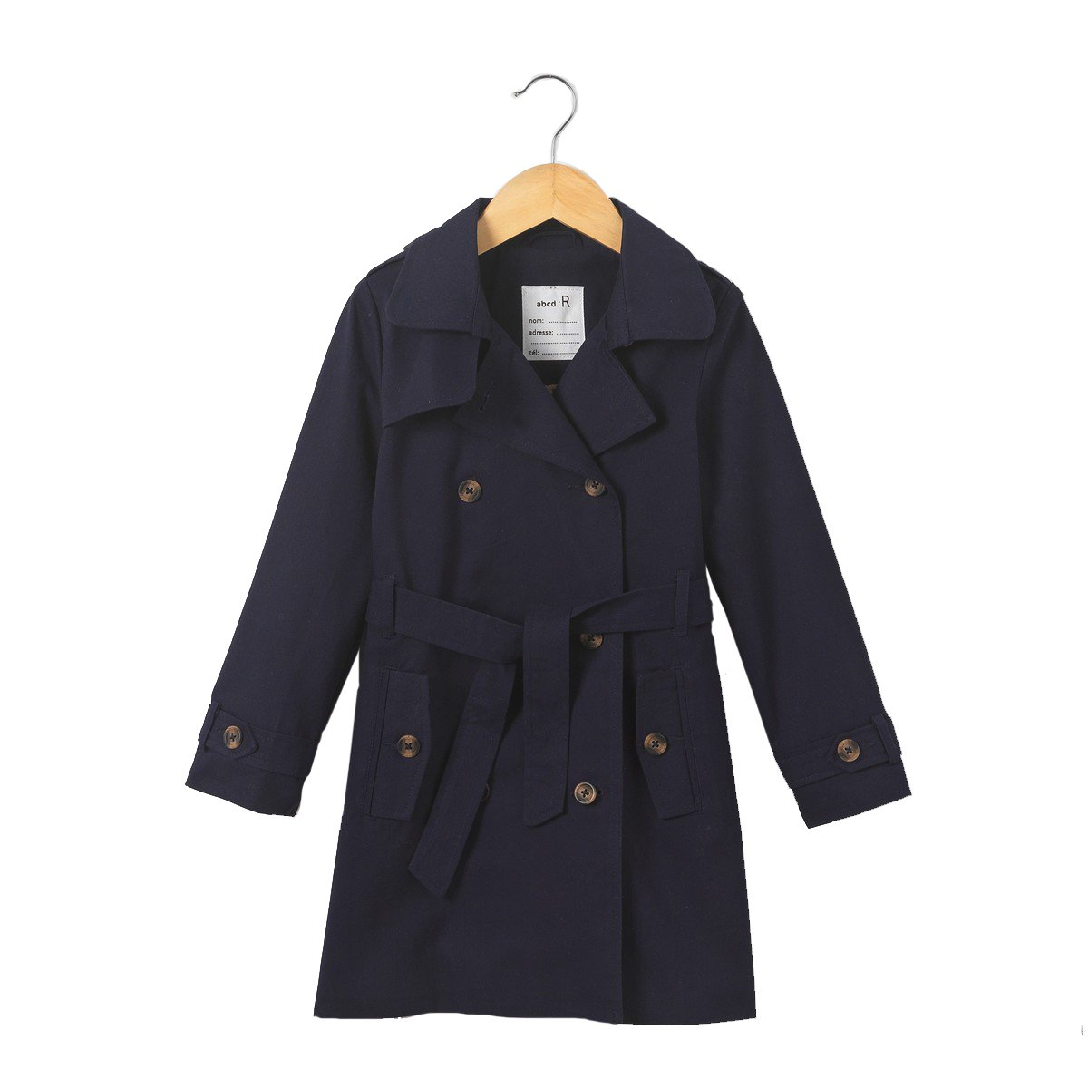 La Redoute Collections Big Girls Belted Cotton Twill Trench Coat, 3-12 Years Blue Size 10 Years - 54 in.