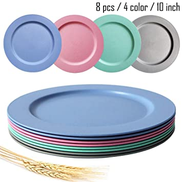 Lightweight /& Unbreakable,Non-Toxin 10inch//8pcs Dishwasher /& Microwave Safe Wheat Straw Plates BPA Free and Healthy for Kids Children Toddler /& Adult 4color8pcs