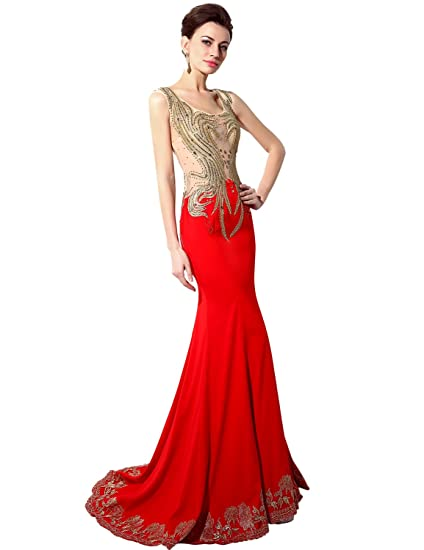 Sarahbridal Long Sexy Beaded Mermaid Prom Gowns Evening Dresses for Women SSY005 Red UK18