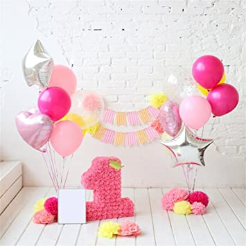 Amazoncom Ofila Baby Girl 1st Birthday Backdrop 5x5ft 1st
