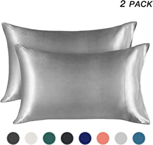 EXQ Home Satin Pillowcase for Hair and Skin, Silver Grey Cooling Pillow Cases King Size Pillow Case Set of 2 Pillow Covers with Envelope Closure (20x40 Inches)