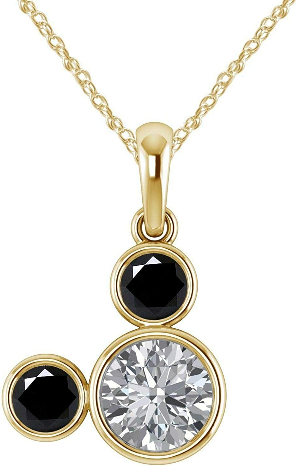 14K Black Gold Plated Simulated Diamond Studded Fashion Pendant Necklace with Chain Jewelry