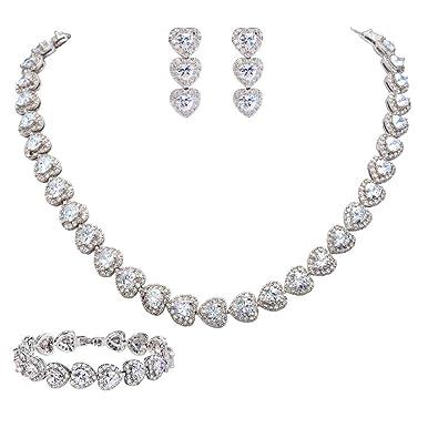 1163ea1003 EVER FAITH Women's CZ Stunning Love Heart Tennis Necklace Earrings Bracelet  Set Clear Silver-Tone