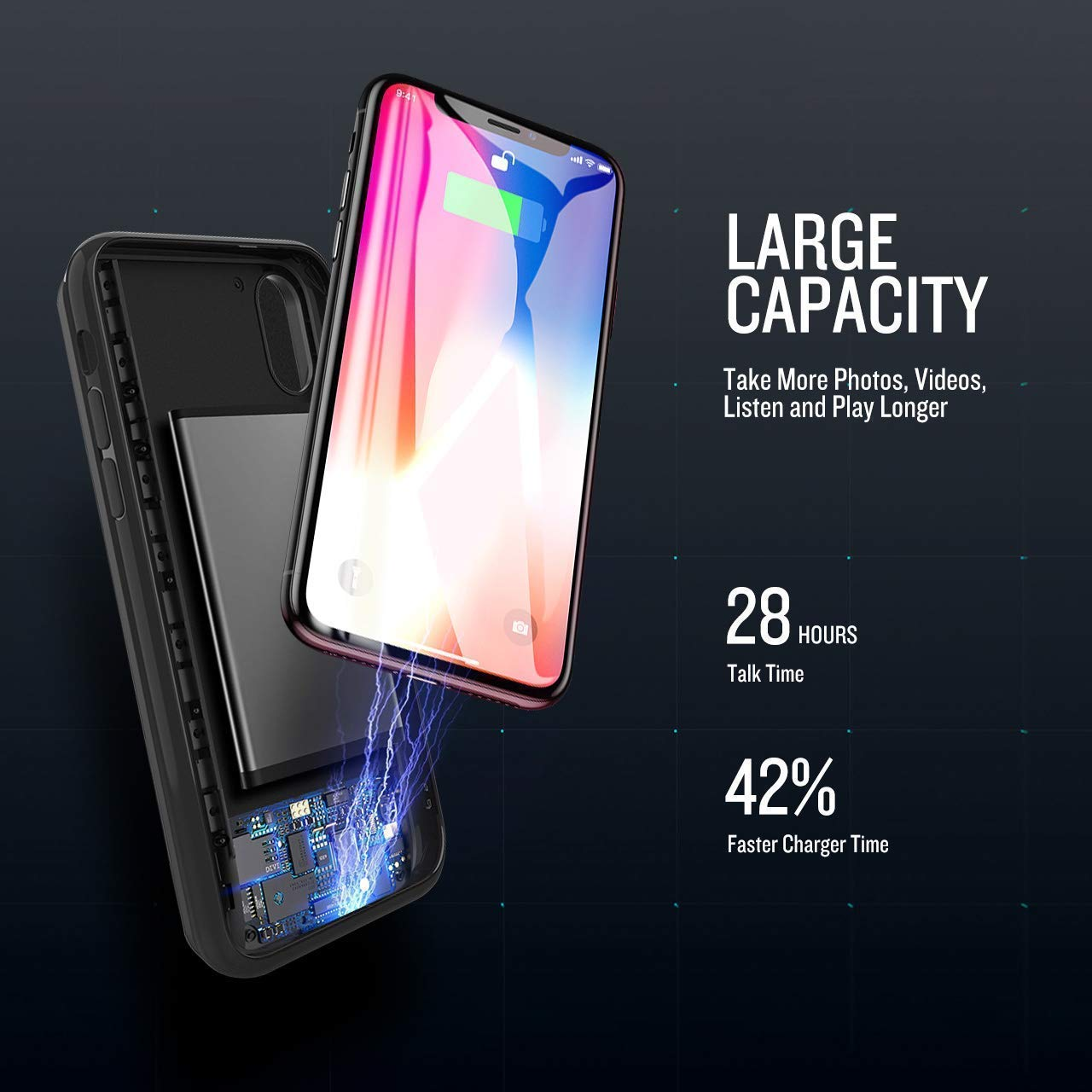 Rechargeable Protective Backup Charging Case Works Apple Phones 4000mAh Ultra Slim Portable Battery Power Charger Case iPhone X Battery Case Black