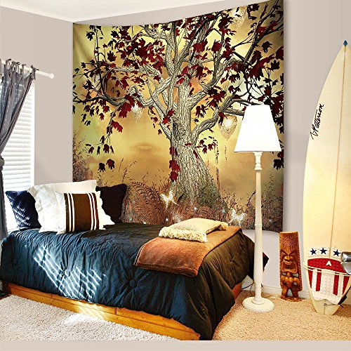 Christmas Decorations Tapestry Wall Hanging IMEI, 3D Santa Claus Print Fabric Holiday Wall Art Hanging Living Room Office Dorm Bedroom (51 X 60 inch, Elven Floral Tree Holiday)