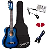JMFinger Beginner Classical Guitar 30 Inch Kids Nylon Strings Guitar with Gig Bag, Strap, Picks, 3 in 1 Metronome & Tuner, Bl