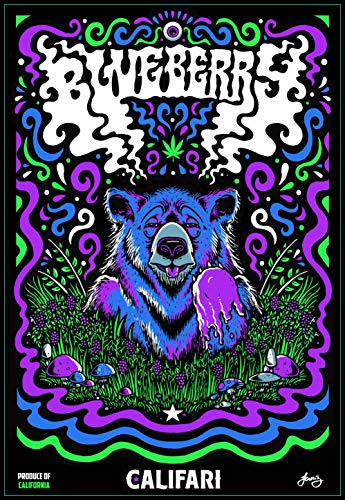 Blueberry UV Screen Print 18 x 24, Signed & Numbered by Artist, Vivid Color Strain Art Wall Poster, Decor for a Home, Dispensary, or Smoke Shop
