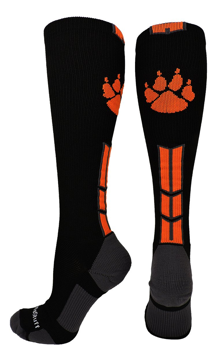 MadSportsStuff Wild Paw Over The Calf Socks (Black/Orange/Graphite, Medium) by MadSportsStuff