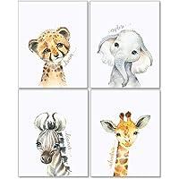 Confetti Fox Safari Animals Nursery Pictures Wall Decor - 8x10 Unframed Set of 4 Art Prints - Leopard Elephant Zebra…