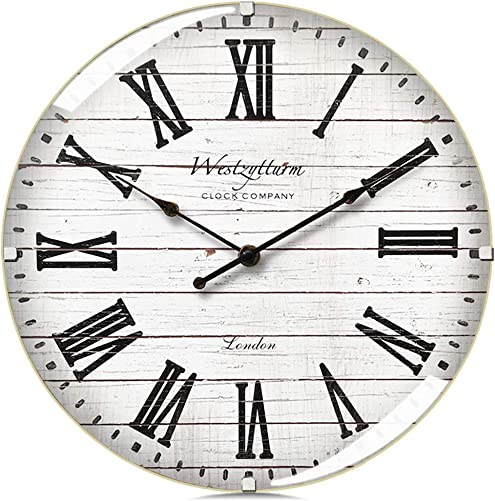 Westzytturm Wood Wall Clock 12 inches Luxury Curved Glass Roman Numeral Silent Large Wall Clock Rustic Battery Operated Non Ticking Big Round Clocks for Wall Decor Living Room Kitchen Office White