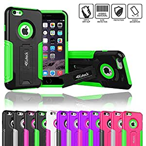 iPhone 6 Plus Case, [Armorbox] Candy Color Skin Slim [Heavy Duty Protection] Hard Shell Armor Case W/ Kickstand for iPhone 6 (5.5-Inch) + Screen Protector + Stylus (Black/Green)
