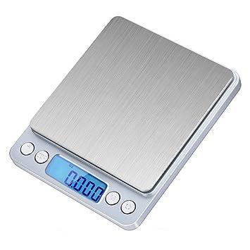 ticent 500 G/0.01g Báscula Digital de bolsillo, joyas de Acero Inoxidable Cocina y Alimentos Escala, 0.001oz Resolución: Amazon.es: Hogar