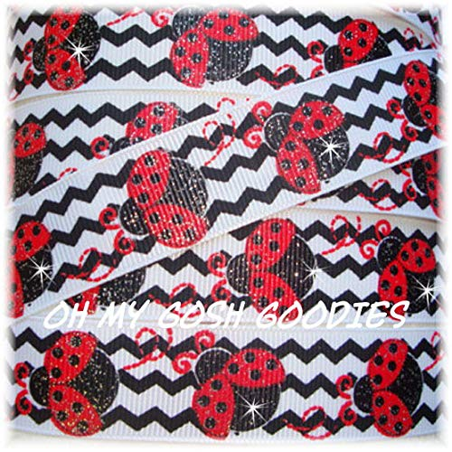 Ribbon Art Craft Perfect Solution for Any Project Decoration 1 Yard 7/8 Glitter Chevron RED Ladybug Love Bug Sparkle Grosgrain Ribbon 4 HAIRBOW Bow