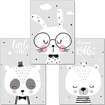 Artpin 3er Set Poster Kinderzimmer Deko Bilder Babyzimmer Din A4 Wandbilder Mädchen Junge Schwarz Weiß Grau Kinderposter Panda Bär Hase Wolken