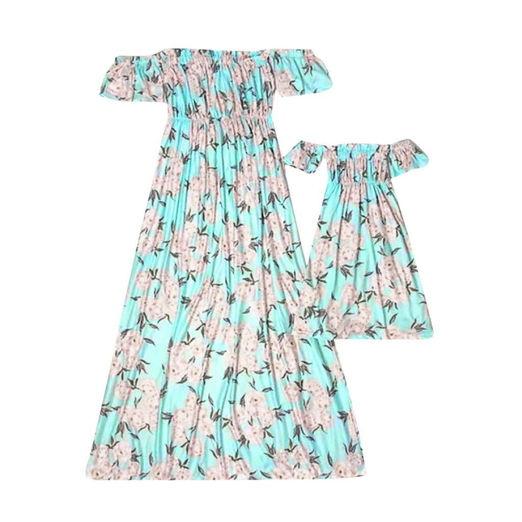 3Y-7Y S-XL Kinder M/ädchen Blumen Kurzarm Schulterfrei Kleid Kleidung Passende Familie Kleidung DQANIU ❤️❤️ Frauen Mama Schulterfrei Kurzarm Blumenkleid Kleidung Passende Familie Kleidung