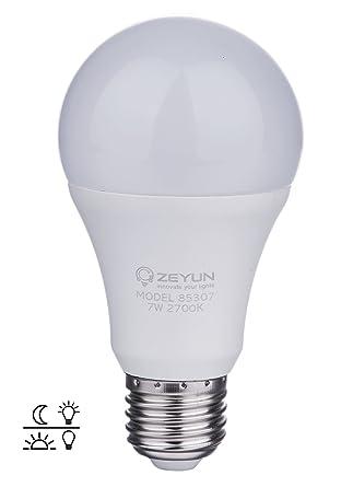 ZEYUN bombilla LED E27 con sensor de Atardecer al amanecer, 7W bombilla de seguridad con
