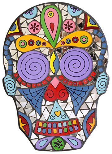 9 Inch Day of the Dead Sugar Skull Glass and Mirror Mosaic Wall Plaque (B (Swirls)) (Skull Wall Mirror)