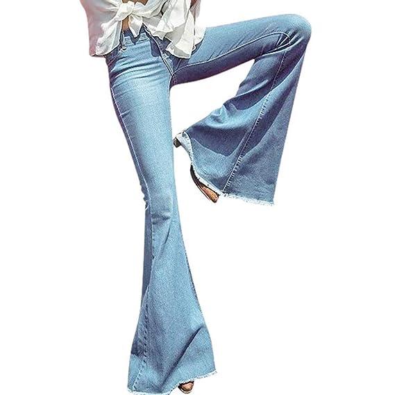 Weiyun Women Pants Women Daily Hight Waisted Wide Leg Denim ...
