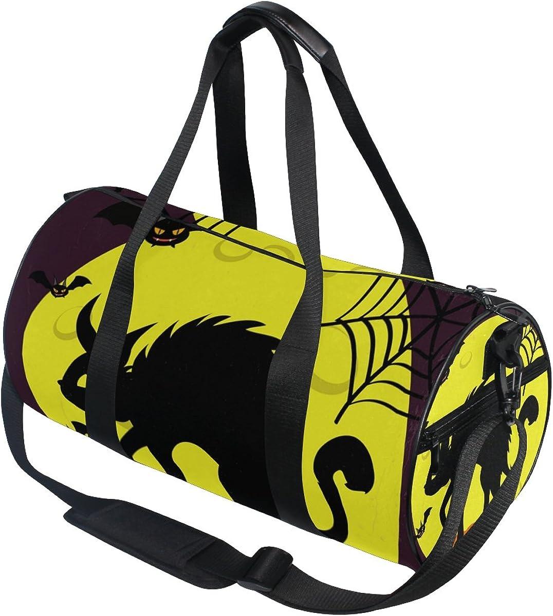 Evolutions Happy Halloween Black Cat Bat Travel Duffel Bag Sports Gym Bag For Men /& Women