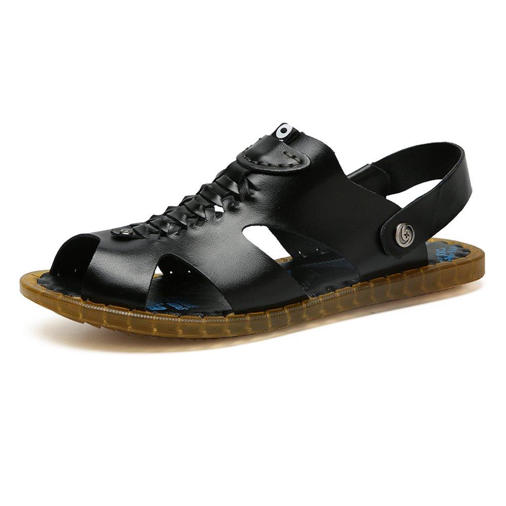 Zapatillas de Playa de Cuero Genuino Zapatillas de Playa Sandalias Ocasionales Respirables Antideslizantes Zapatos Planos Suaves Ajustables sin Respaldo 44 EU Black
