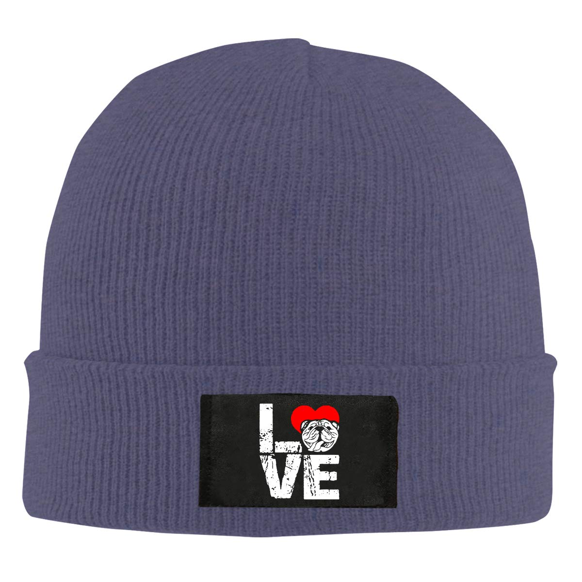 English Bulldog Lovers Unisex Warm Winter Hat Knit Beanie Skull Cap Cuff Beanie Hat Winter Hats