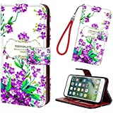 iPhone 6/6S Phone Case Wallet Purple Floral Flower, [Kickstand Feature] PU Leather Wallet Flip Pouch Case Cover with Free Wrist Strap & Card Slots Flip Folio Skin Shell for iPhone 6/6S
