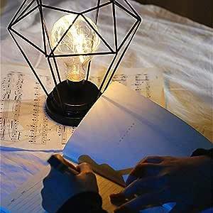 YJDT Lámpara de mesita de Noche de Estilo nórdico Lámpara de Mesa con Pilas Lámpara de Mesa de Hierro Lámpara de mesilla de Hierro Luz de Noche Iluminación Decorativa: Amazon.es: Hogar