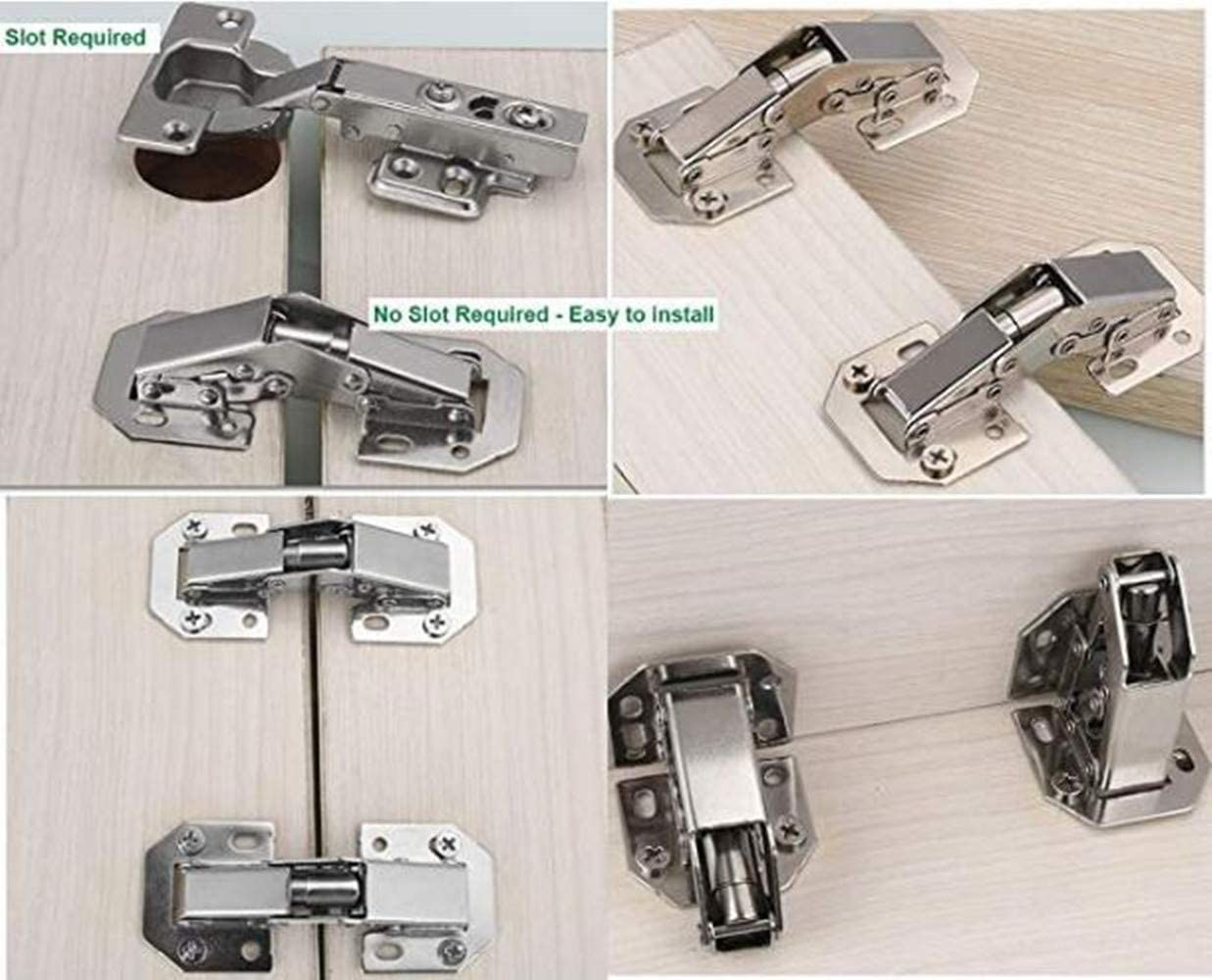Cabinet Door Free Stop Support Hinge 2PCS 37x125mm Adjustable Mounting Degree Concealed Hinges for Door Wardrobe Cabinet