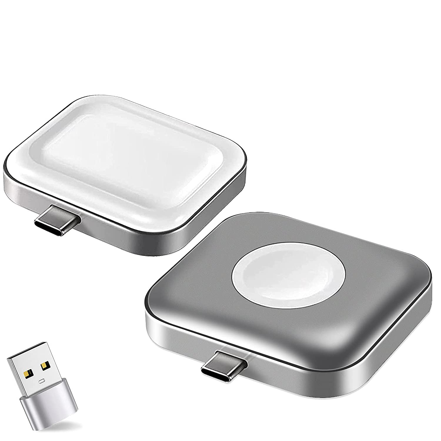 Compatible for Apple Watch Charger Airpods Charger,2 in 1 Portable Wireless USB-C Charger Travel Cordless Magnetic Charging Station Compatible with iWatch SE Series 6/5/4/3/2/1/Airpods 2/Pro (1 Pack)
