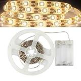 GOESWELL Warmes Weiß 3000K LED Strip Streifen 3528SMD 60leds Licht Band Leiste Wasserdicht IP65 Batteriebetrieben 100CM (Warmes Weiß)